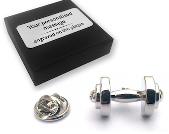 Dumbbell, weight, lifting, lapel pin badge, tie pin, brooch accessory, boutonniere - personalised engraved gift box - 163