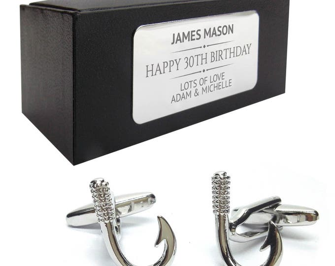 Angling fishing hook novelty CUFFLINKS birthday gift idea, presentation box with PERSONALISED ENGRAVED plate - 424