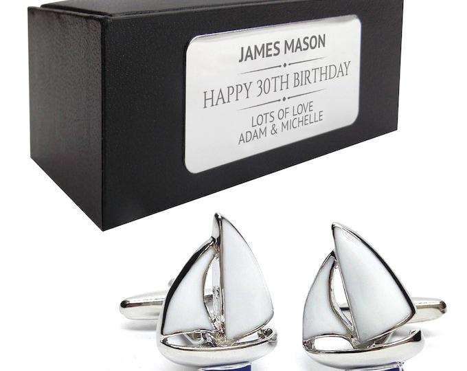 Yacht boating nautical sailing CUFFLINKS birthday gift, presentation box PERSONALISED ENGRAVED plate - 009
