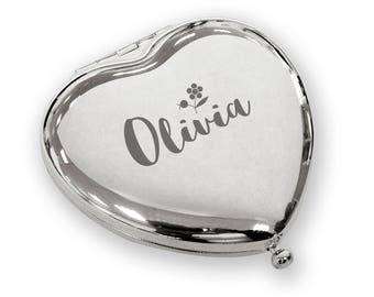 Personalised engraved HEART shaped compact mirror birthday christmas gift idea, SILVER plated - FLW