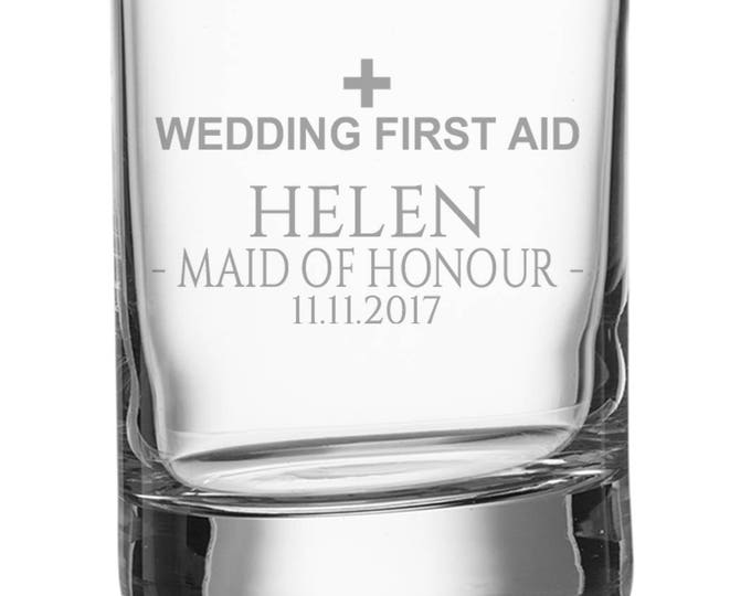Engraved MAID of HONOUR shot glass, personalised glasse, wedding bomboniere wedding favours, wedding first aid - SH-WFA9