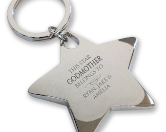 Personalised engraved This star GODMOTHER belongs to keyring gift, deluxe chunky star keyring - BE8