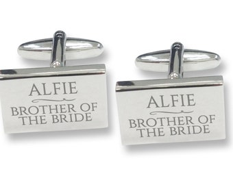 Engraved BROTHER of the BRIDE rectangle wedding cufflinks, rhodium plated - RECW4