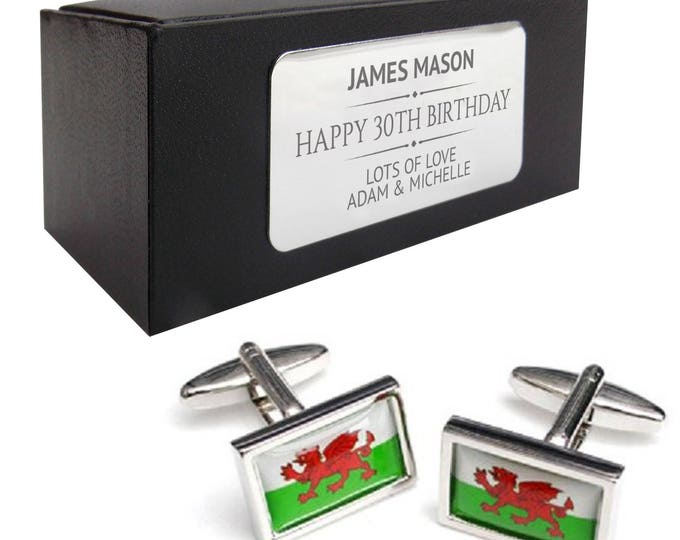 St Andrews, Wales, Welsh flag CUFFLINKS birthday gift, presentation box PERSONALISED ENGRAVED plate - 080
