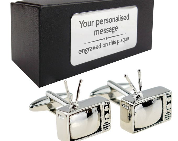 Retro TV television novelty cufflinks gift , personalized personalised message on presentation box, customized gift - 956