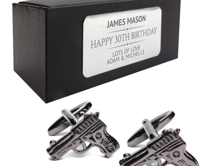 Pistol, gun shooting CUFFLINKS birthday gift, presentation box PERSONALISED ENGRAVED plate - 001