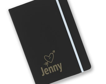 Personalised engraved A5 soft touch, black notebook, kids, children's, journal, book, notepad, lined notebook, heart - BKA5-NOTE22