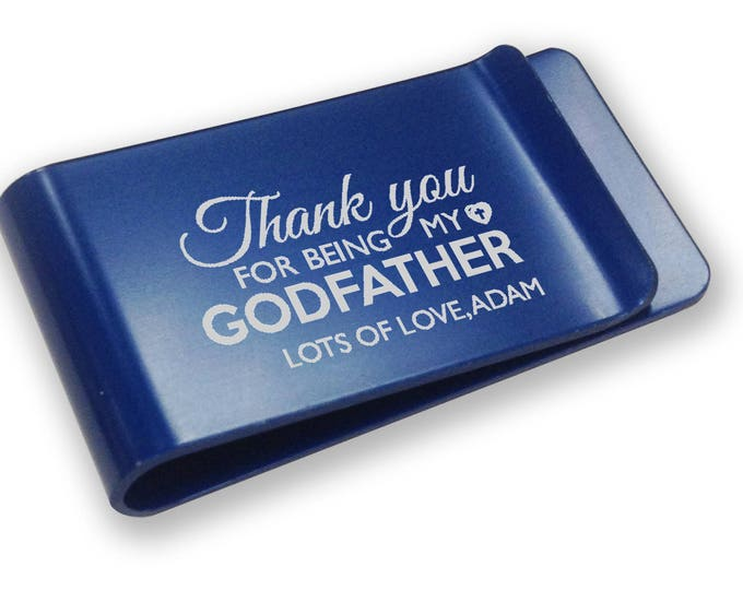 Personalised engraved GODFATHER MONEY CLIP christening, baptism gift - blue money clip, annodised aluminium  - LMGD1B