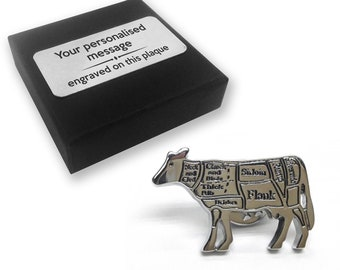 Butcher beef lapel pin badge, tie pin, brooch accessory, boutonniere - personalised engraved gift box - 484