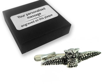 Owl, wise bird, teacher, tie clip, tie tac, personalised ENGRAVED novelty birthday christmas wedding gift - 170