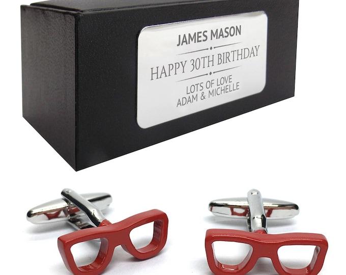 Geek glasses opticians specs CUFFLINKS birthday gift, personalised engraved cufflink box - 405