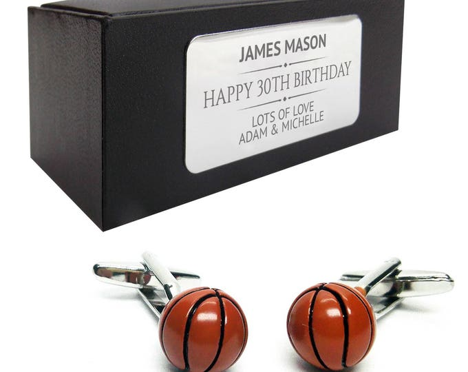 Basket ball, Basketball CUFFLINKS gift for him, personalised engraved cuff link box - 224