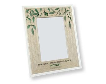 Peronalised wedding witness photo frame gift idea. Custom 4x6 wedding frame - SAH46-WD6