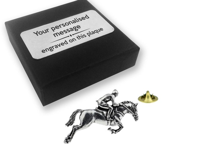 Horse, riding, jockey, horse racing, PEWTER, lapel pin badge, tie pin, brooch accessory, boutonniere - personalised engraved gift box - 029