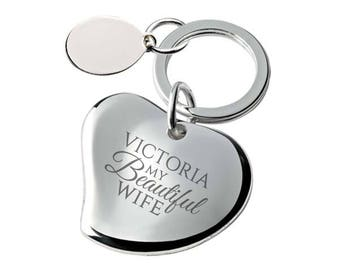 Engraved My beautiful WIFE heart keyring gift, SILVER PLATED, personalised contoured heart keyring - 148-BEA1
