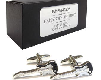 Electric guitar music CUFFLINKS birthday gift, presentation box PERSONALISED ENGRAVED plate - 531