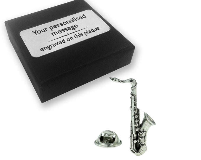 Saxophone, instrument, music, PEWTER, lapel pin badge, tie pin, brooch accessory, boutonniere - personalised engraved gift box - 129