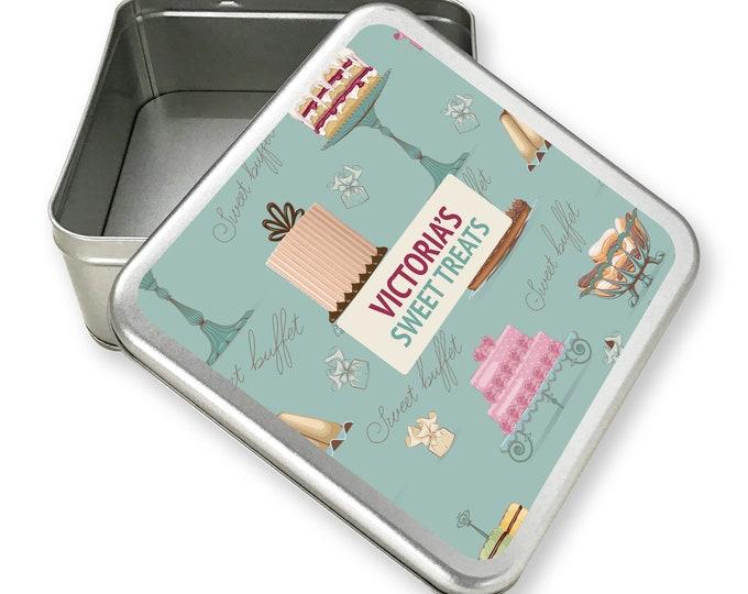 Personalised metal tin storage box gift idea, cake tin, sweet tin, biscuit tin - TS17-TN5