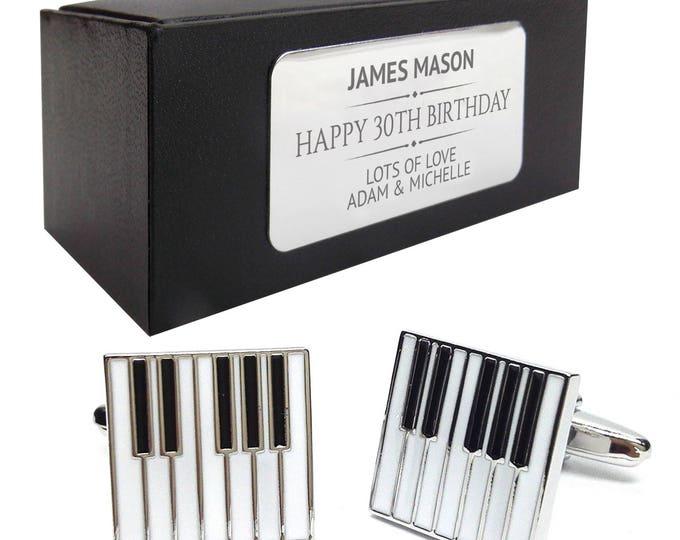 Music piano keys CUFFLINKS birthday gift, presentation box PERSONALISED ENGRAVED plate - 231