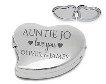Personalised, engraved, AUNTIE, AUNTY, compact mirror, handbag mirror, pocket mirror, chromed metal, butterfly - 9011-FM4