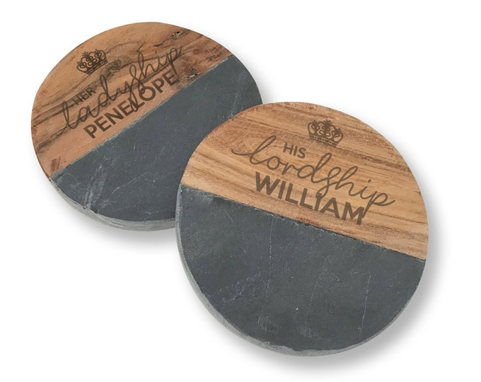 Engraved LORD and LADYSHIP coasters gift, pair of coasters, wedding anniversary personalised gift idea - Cb0-LORD