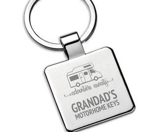 Personalised GRANDAD grandpa MOTORHOME keyring square metal keychain gift, adventure awaits - 5580MH2