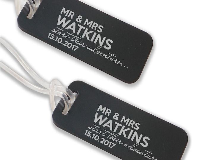 Personalised engraved luggage TAG, coloured aluminium custom honeymoon luggage tag suitcase bag tag - ANB13