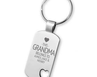 Engraved This GRANDMA belongs to keyring gift,  heart cut out keyring - 5583LG9