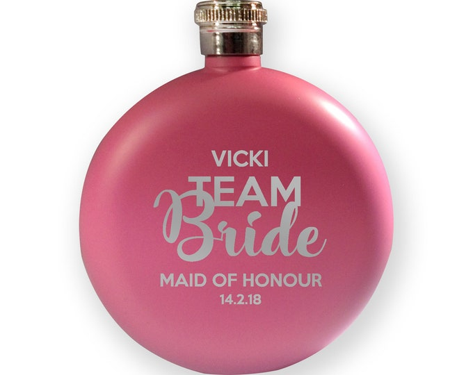 Engraved HEN BACHELORETTE hip flask gift, Team Bride - maid of honour - 5PK-HENT3