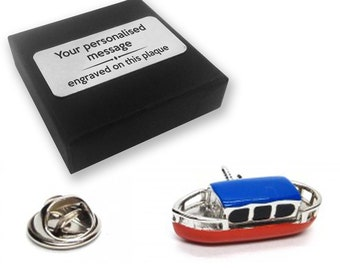 Canal, narrowboat, barge, lapel pin badge, tie pin, brooch accessory, boutonniere - personalised engraved gift box - 119
