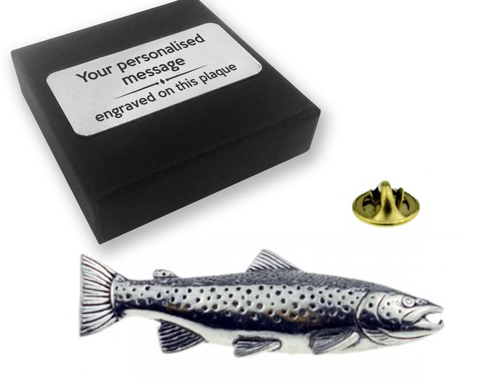 Brown trout, fish, fishing, PEWTER, lapel pin badge, tie pin, brooch accessory, boutonniere - personalised engraved gift box - 44
