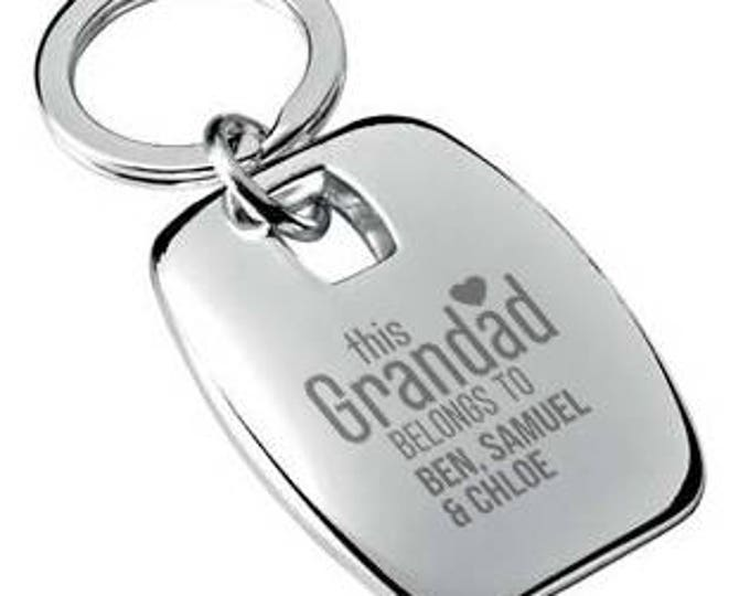 Personalised engraved This GRANDAD belongs to KEYRING chromed metal keychain rounded chunky barrel shape - 7863-BEB2