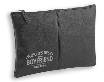 Personalised engraved World's Best Boyfriend BLACK LEATHER pu accessory, tablet, wash bag, toiletry case - AC-WB10