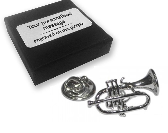 Trumpet, music, musician, lapel pin badge, tie pin, brooch accessory, boutonniere - personalised engraved gift box - 147