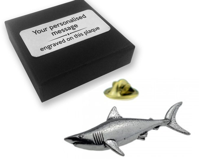 Shark, fishing, sea, PEWTER, lapel pin badge, tie pin, brooch accessory, boutonniere - personalised engraved gift box - 15
