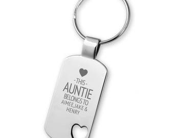 Engraved This AUNTIE belongs to keyring gift,  heart cut out keyring - 5583LG10