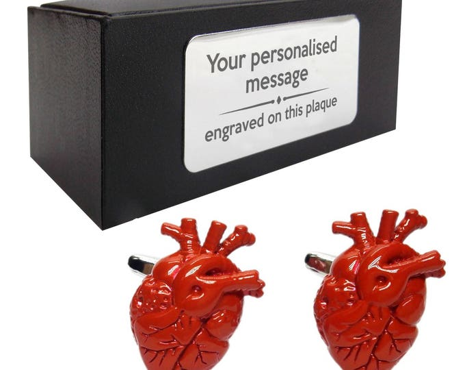 Cardiologist heart surgeon doctor CUFFLINKS gift, personalised engraved cufflink box - 475