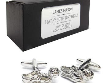 Football boot ball CUFFLINKS birthday gift, presentation box PERSONALISED ENGRAVED plate - 004