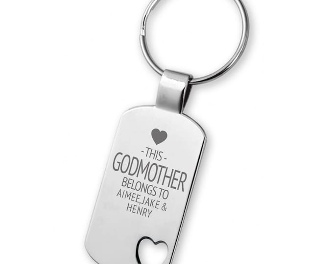 Engraved This GODMOTHER belongs to keyring gift,  heart cut out keyring - 5583LG11