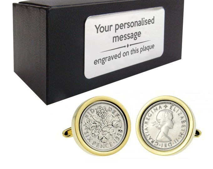 Lucky sixpence six pence wedding CUFFLINKS gift, personalised engraved cufflink box - 004