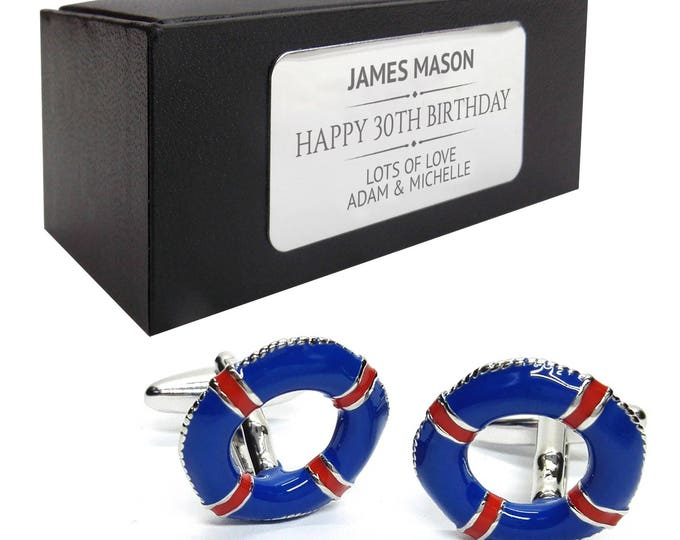 Sailing cruise life buoy nautical boat CUFFLINKS gift, personalised engraved cuff link box - 457