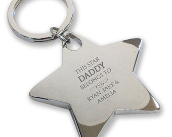 Personalised engraved This star DAD DADDY belongs to keyring gift, deluxe chunky star keyring - BE1
