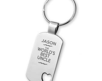 Engraved World's best UNCLE keyring gift,  heart cut out keyring - 5583WB3