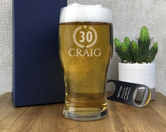 Laser engraved BIRTHDAY pint glass gift for an 18th 21st 30th 40th 50th 60th 70th birthday, gift boxed - PG-W