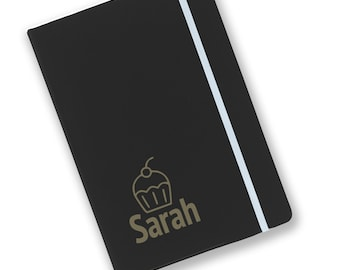 Personalised engraved A5 soft touch, black notebook, kids, children's, journal, book, notepad, lined notebook, cupcake - BKA5-NOTE20