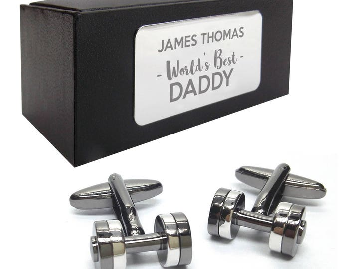 Gym dumbell weight lifter CUFFLINKS, presentation box PERSONALISED ENGRAVED plate - 436
