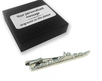 Battleship, war games, ship, boat, tie clip, tie tac, personalised ENGRAVED novelty birthday christmas wedding gift - 171