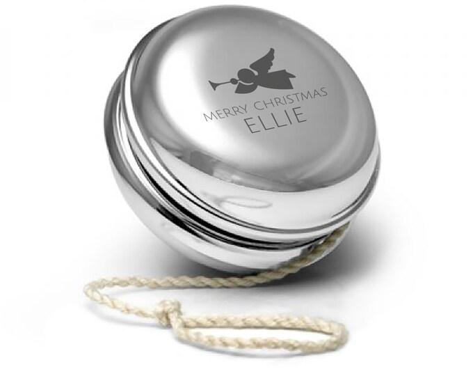 Engraved SILVER PLATED personalised yoyo yo-yo childrens kids christmas gift idea, xmas themed design - YO-XMA1