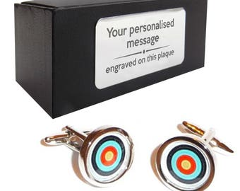 Archery shooting target CUFFLINKS gift for him, personalised engraved cufflink box - 175A