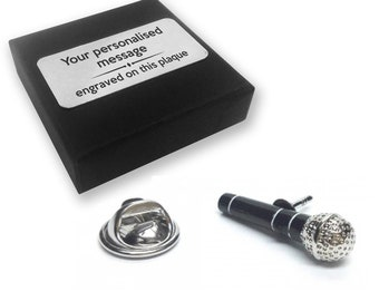 Microphone, karaoke, singer, lapel pin badge, tie pin, brooch accessory, boutonniere - personalised engraved gift box - 246